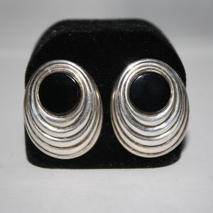 Sterling Silver and Onyx Clip on Earrings